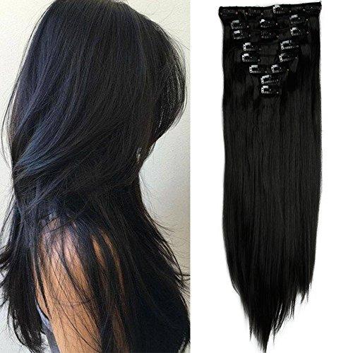 "TESS Clip in Extensions wie Echthaar Kunsthaar Haarteil günstig 8 Tressen 18 Clips Haarverlängerung Glatt Schwarz 26""(66cm)-140g"