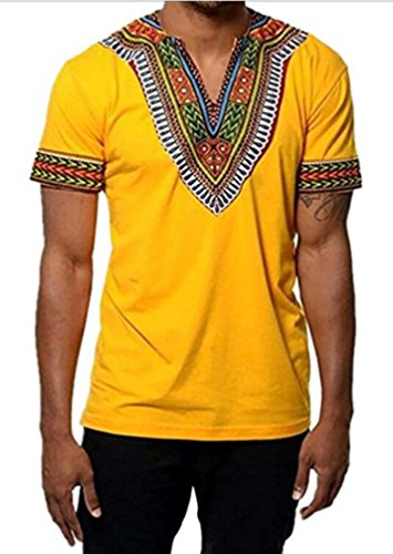 cb39b9d6a18a0b Outgobuy Männer African Print Dashiki T-Shirt Tops Unisex Casual T-Shirt (L