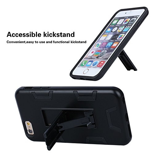 """HYAIT® For APPLE IPHONE 6 PLUS 5.5""""Case[C72][METAL][COLOR LINE][Holder] TPU+PC Premium Hybrid Shockproof Kickst Bumper Full-body Rugged Dual Layer Stents Cover-RED&BLACK IPHONE 6 5.5-C72-BLACK&BLACK"""