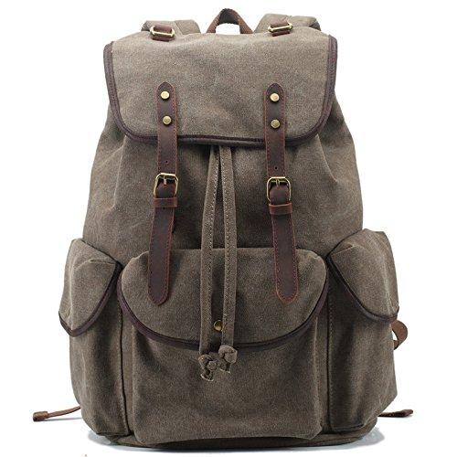 Mefly Tela zaino Vintage Leather Casual Bookbag uomini zaino grigio scuro Green