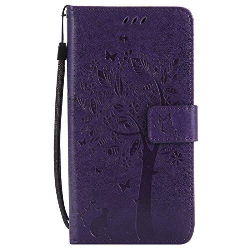 Mioc Xiaomi Mi Mix 2 Funda, Funda de Cuero para teléfono Diseño de gofrado Gato y árbol con Ranura para Tarjeta de Billetera y Hebilla magnética Estuche, Morado