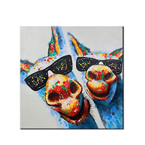Handgemaltes Ölgemälde,Malerei Auf Leinwand Abstrakte Tiere Coole Sonnenbrille Mit Schäkel Große Home Art Déco-Gemälde Für'S Schlafzimmer Wohnzimmer Kinderzimmer Dekoration Malerei Ohne Rahmen