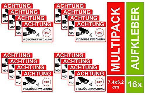 16 Video Aufkleber Videoüberwachung Videoüberwacht Sticker Hinweis Kameraüberwachung (16 Stück) -