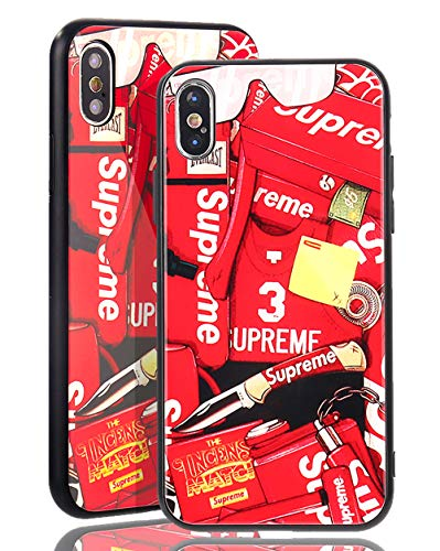 SUP [ Passend für Apple iPhone X, in Rot Supreme Sticker Case - Rückseite aus echtem Panzerglas 9h - NY Logos (Supreme Case)