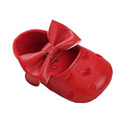 Auxma Baby schuhe mädchen Bowknot-lederner Schuh-Turnschuh Anti-Rutsch weiches Solekleinkind für 0-18 Monate (12(6-12M), Rojo) Baby Schuhe Turnschuhe