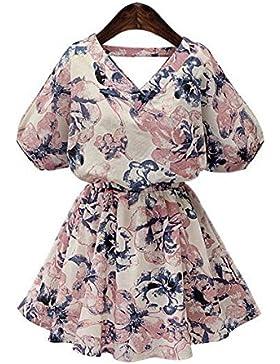 Vestido de cuello V manga corta vestido de las mujeres ropa colección vestido con estampado floral falda corta...