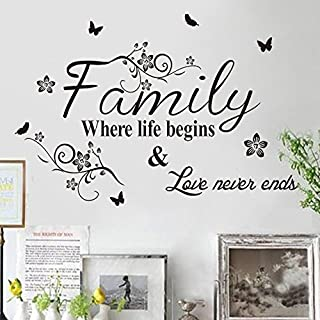 Zooarts Family Where Life Begins Floral Quote Vinyl Mural Wall Decal Sticker