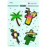 Stoffe Werning Applikationen Patches Palme Kaktus - Preis gilt für 1 Päckchen á 4 Motive