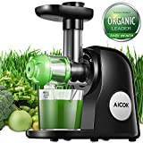 Entsafter Mastizierender Slow Juicer, Aicok Kaltauspressende Entsafter Maschine, Geräuscharmer Motor und Umkehrfunktion, mit einem Saftauffangbehälter und einer Reinigungsbürste um das Gerät leicht zu säubern, Für Frucht-und Gemüsesäfte
