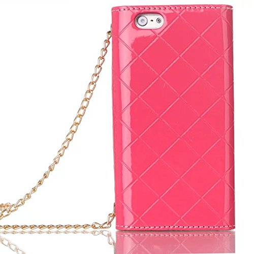 "Gukas Lady Femme Bandoulière Chaîne Housse Coque PU Leather Bouton Cuir Etui Case Cover Flip Protection Cartes Fentes Portefeuille Wallet Pour Apple (iphone 7 Plus 5.5"",Magenta) Rose"