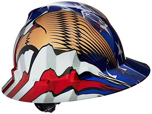 MSA V-gard Liberté Série Classe E ANSI type I rigide Chapeau avec Fas-trac et drapeau américain de suspension avec 2Eagles