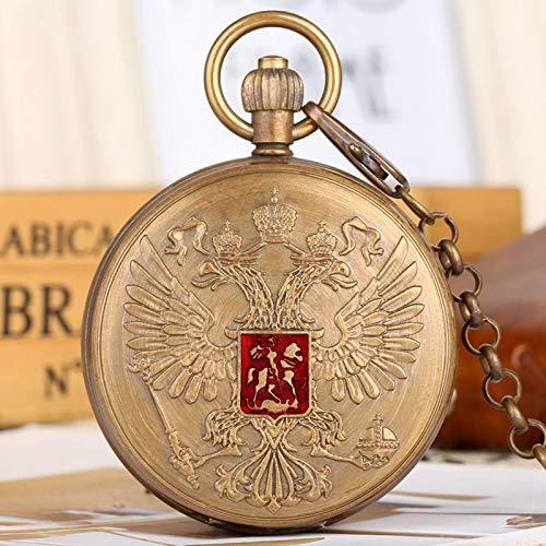 VIOPEX Taschenuhr Doppelköpfiges Adlerwappen Russisches Nationales Emblem Abzeichen Reines Kupfer Tourbillon Mechanische Taschenuhr Kunstsammelstücke
