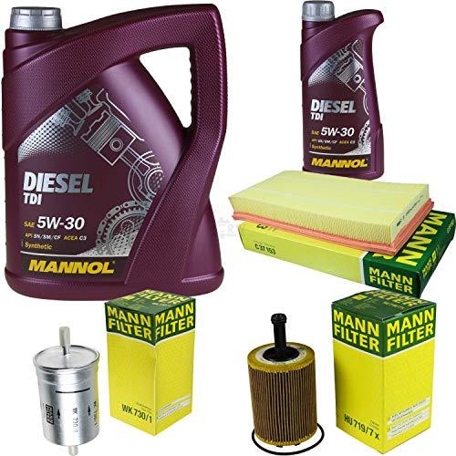 Filter Set Inspektionspaket 6 Liter MANNOL Motoröl Diesel TDI 5W-30 API SN/CF MANN-FILTER Luftfilter Ölfilter Kraftstofffilter