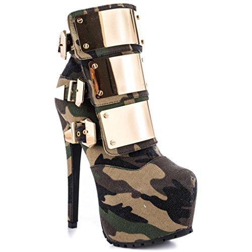 Stivaletti impermeabili della caviglia dell'alto tallone della signora Autunno Inverno Booties Scarpe da banchetto pulsante in metallo PU artificiale 0705FD , A , 41 A-43