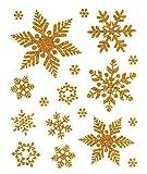Fensterbild Set 18-teilig Schneeflocken Eiskristalle gold Eisblumen Sterne statisch haftend Weihnachten Winter Fenstersticker Aufkleber Fensterdekoration