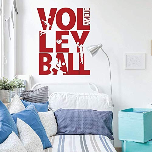 zzlfn3lv Sommer Beach Volleyball Wandtattoo Benutzerdefinierte Name Sport Mädchen Room Decor Volleyball Zeichen Spielen Silhouette Vinyl Wandbild 57 * 72 cm Volleyball Silhouette