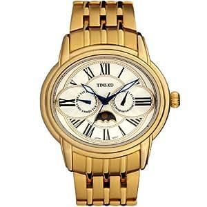Time100 - Montre Hibou Avec Deux Petits Cadrans La Phrase de la Lune Homme Bracelet en Acier Inoxydable- W80006G