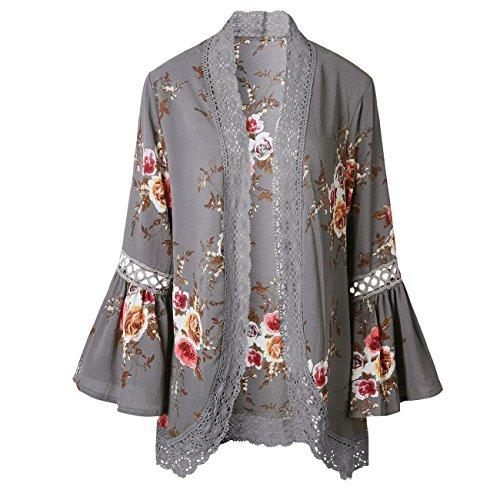Yieune Femme Gilet Floral Imprimé Cardigan Mousseline de soie Pull Lâche Veste en Laine Shirt Couvrez-Vous Tops Gris