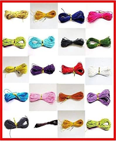 100 Meters 1mm Assorted Color Waxed Cotton Necklace / Bracelet Jewellery Making Cord by Forever Beads
