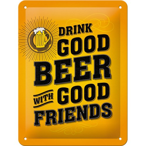 nostalgic-art-26204word-up-drink-good-beer-cartel-de-chapa-metal-multicolor-15x-20x-02cm