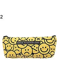 Smile Emoji Estuche de papelería escolar suministros estudiante lona pluma caja de regalo, color 2