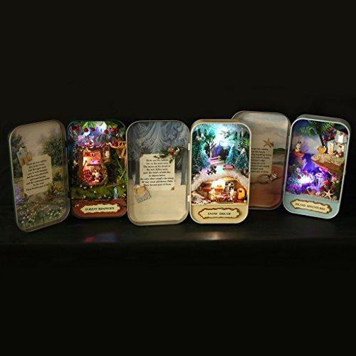 MagiDeal Mini Casella Casa Bambola Mobili Scatola Fai Da Te Decorazione Ornamento Vetrina Legno Panno - Foresta Rhapsody