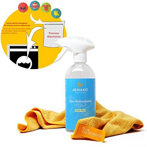 Jemako ECO Plus Mousse active pour le verre 500 ml + Chiffon professionnel 35x40 cm, pompe à mousse et filet de lavage
