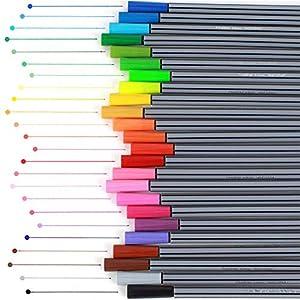 Aeromdale Aquarellstift Marker 0,4 mm Feine Spitze Acrylfaser-Spitze Zeichnung Marker Stifte für Malerei Kinder Doodling 24st