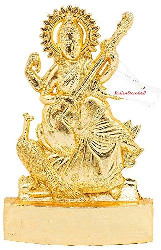 IndianStore4All Ashtadhatu Sarasvati Saraswathi Maa Matha Ji Statue Idol Gold Polish
