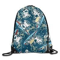NiPapack Outdoor Sports Team Drawstring Bag Gym Bags - (Cute Cartoon Zebra)
