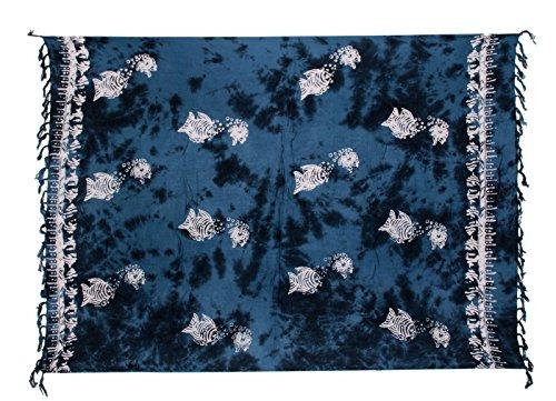 Sarong ca. 170cm x 110cm Handgearbeitet inkl. Sarongschnalle im Runden Design - Viele exotische Farben und Muster zur Auswahl - Pareo Dhoti Lunghi Fisch Blau Batik