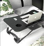 Notebook-Tisch, Schlafsaal mit kleinem Schreibtisch, Bett mit Laptop-Tisch, Klapptisch, kleines Wohnheim, mit Tassenschlitz (60 x 40 cm)