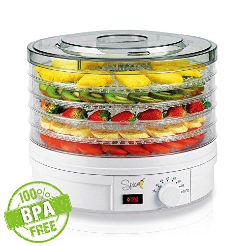 Spice teseko Dörrgerät für Lebensmittel, enthält 5verstellbaren Fächern und ein Knopf zum Einstellen der Temperatur (von 35bis 70Grad)
