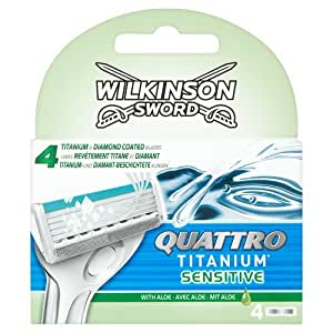 Wilkinson Sword Quattro Titanium Sensitive Razor Blades, 4 Blades