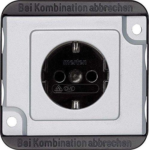 Merten MEG2300-7060 SCHUKO-Steckdose, erhöhter Berührungsschutz, Steckklemmen, mattsilber, Panzer, Silber - Gas-wasser-heizung-teile
