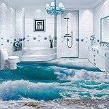 Pvc selbstklebende wasserdichte 3d bodenfliese tapete moderne meerwasser welle foto mural bad tapete tapete, 200 * 140 cm