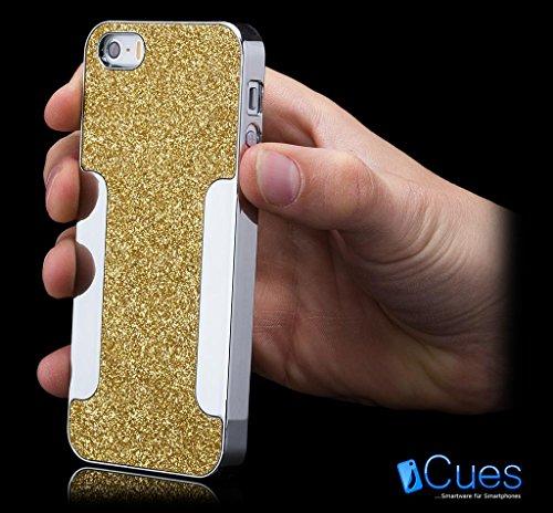 iCues Apple iPhone SE / 5S / 5 |  Glitzer Case Rot | [Display Schutzfolie Inklusive] Strass Glitzer Glitter Luxus Bling Damen Frauen Mädchen Chrome Schutzhülle Hülle Cover Schutz Gold