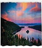 tgyew Lake Tahoe Shower Curtain, California Photography Rustic Themes Sundown Time Freshwater Sierra Nevada Lake, Cloth Fabric Bathroom Decor Set with Hooks, 72x72 Inches, Pink Green