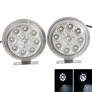 18 LED Round Car Daytime Running Light Turn Light/Fog Lamp/Backup Light White (Pair)