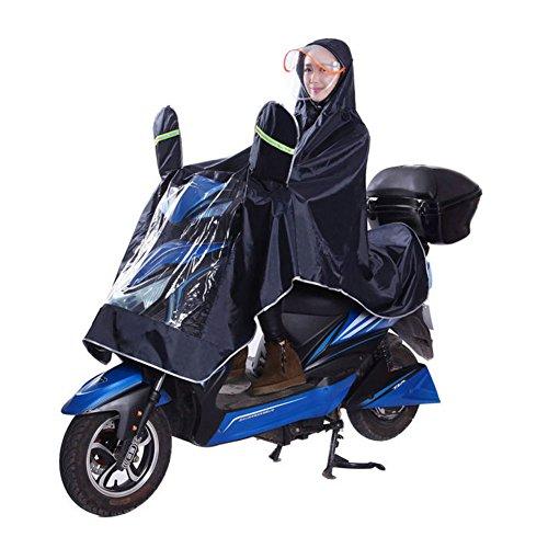 Ibluelover singolo in tessuto oxford impermeabile bici elettrica outdoor field zaino copertura doppia cappello poncho aumento ispessimento ride poncho motorino impermeabile outdoor trekking campeggio unisex (4xl), navy