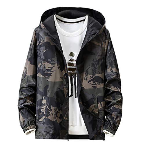 Haughtily Herren Camouflage Hoodie Beidseitig Tragen Leichte Mantel Mode Langarm Taschen Reißverschluss Sport Freizeitjacke (Coats Bubble Kapuze Für Mit Männer)