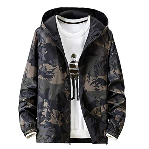 Männer Hoodie, sunnymi ® Herbst Casual Camouflage Printing Plus Size Hoodie doppelseitige Abnutzung dünner Mantel -