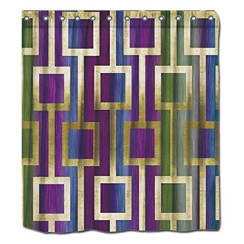 YYT Duschvorhänge Contemporary Elegant Gold Blau Grün Violett, Polyester 100% Polyester, weiß, 72
