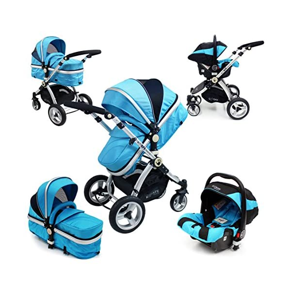 i-Safe System - Ocean Trio Travel System Pram & Luxury Stroller 3 in 1 Complete With Car Seat iSafe  1