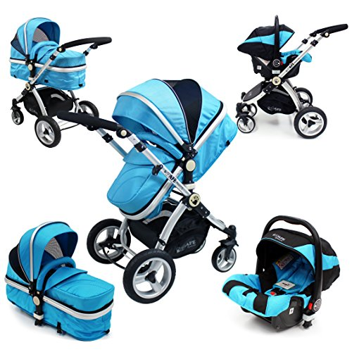 i-Safe System – Ocean Trio Travel System Pram & Luxury Stroller 3 in 1 Complete With Car Seat 51lgHRYSz2L