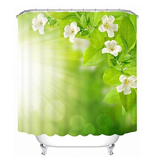 Duschvorhang Grün Wasserdicht Textil Shower Curtain Mehltau Waschbar Badezimmer Vorhang Anti-bakteriell Badewannenvorhang mit Motiv Weiß Blume Polyester 180cm x 200cm