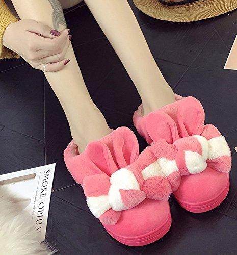 Minetom Inverno Unisex Morbido Caldo Peluche Casa Pantofole Cartone Zampa Dell'orso Antiscivolo Pattini Donna Uomo Scarpe Slippers H- Rosso