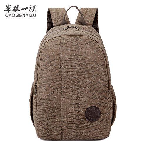 Canvas Tasche Mann Lady Rucksack Tasche Freizeit Tasche 15 Zoll Computer Bag Sporttasche Simple Mode, Braun Braun