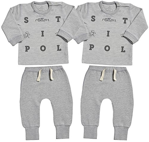 Spoilt Rotten Grid Design suéter para bebés & pantalones para bebé - ropa para gemelos bebé - regalo para gemelos bebé - Gris - 18-24 meses