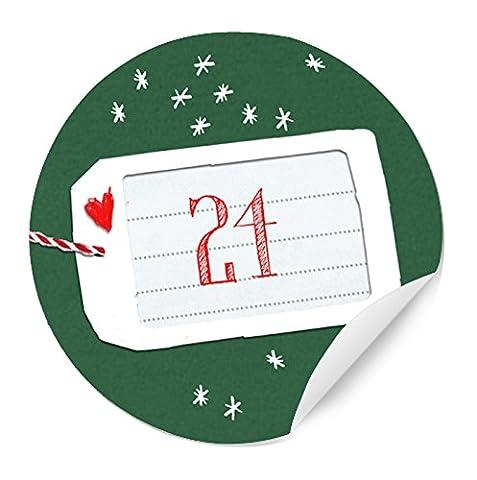 24 Adventskalenderzahlen für Erwachsene & Kinder - runde Sticker zum Adventskalender basteln & befüllen, Stil: STERNE Anhänger QUER, Grün, Tannengrün, MATTE Papieraufkleber 40